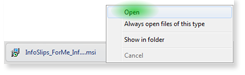 Choose Open from the context menu that appears.